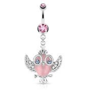 PunkJewelry Belly button piercing Owl with glasses 316L Surgical steel