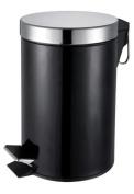 3L LITRE BLACK PEDAL WASTE BIN KITCHEN SMALL TOILET ROOM RUBBISH PAPER DUSTBIN