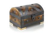 Pirate Treasure Chest Storage Box By Thunderdog - Durable Wood & Metal Construction - Unique, Handmade Vintage Design With A Front Lock - 24x16x16cm Size - Striking Decorative Element - The Best Gift