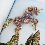 EVER FAITH® Austrian Crystal Vintage Style Running Unicorn Brooch Pendant Gold-Tone