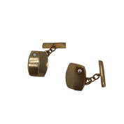 Knight Cufflinks in Yellow Gold Law First with Zirconia Stone