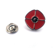 Red Poppy Lapel Pin & Gift Box In Polished Stainless Steel & Red Enamel By Onyx Art - LP861
