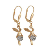 Drop Earrings - Gold Plated - Cubic Zirconia - 1200993 G