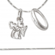 Clever Jewellery Set Silver Pendant Mini Angel with Heart in Hand 10 mm with a simple Baptismal Ring with White Cubic Zirconia and Sterling Silver Curb Chain 34 cm