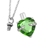Uniqueen 12 Colours Heart Crystal Cremation URN Necklace for Ashes Jewellery Memorial Keepsake Pendant