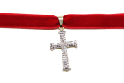 Red Velvet choker necklace micro pave gold tone cross Classic Choker Necklace