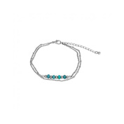 Metal 2 Rows Silver Turquoise Beads Anklet
