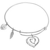 Sterling Silver Mother Son Forever Love Heart Leaf Dangle Charm Adjustable Wire Bangle Bracelet