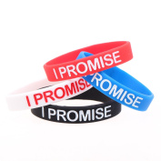 "ISHOW 4 Silicone Rubber Bracelet Engraving ""I PROMISE"" Cuff Wristband Wrist Band"