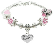 Daughter Childrens Pandora Style Charm Bracelet in Pretty Pink Colour Theme