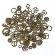 BODYA 20 Gramme Assorted Antique Steampunk Gears Charms Pendant Clock Watch Wheel Gear Crafting Jewellery Making Accessory Bronze