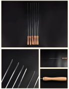 Holzsammlung® 6 Pcs Stainless Steel Barbecue Skewers Set - Wide BBQ Kabob Grilling Sticks with Wooden Handle to Protect Your Hands