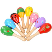 Baby Kids Sand Hammer Toys Mini Wooden Ball Musical Toy Random Colour