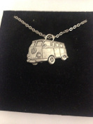 Classic Campervan PP-T23 English Pewter on a Silver Platinum Plated Necklace 46cm
