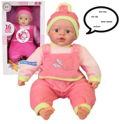 46cm Crying Laughing New Born Soft Bodied Baby Doll Toy with 16 Baby Sounds