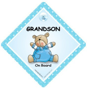 Grandson on Board, Grandson On Board Sign,Blue Quilt, Car Sign, Baby on Board Sign, baby on board, Baby Car Sign, Baby Safety Sign, Baby in Car Sign, Maternity Car Sign, Paternity Car Sign
