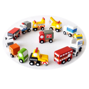 OneCreation Wooden 12 Piece Mini Vehicle Toy Set inc Road Marking Vehicle, Double-decker Bus, Food Truck, Container Truck, Airline Rail Vehicle, Taxi, Garbage Truck, Milk Truck, Cola Truck, Airline Truck, Airport Shuttle Bus and Mini Crane