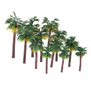 Pixnor 12pcs Layout Rainforest Plastic Palm Tree Diorama Scenery