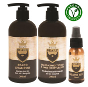 Beard Shampoo Conditioner Face Moisturiser Oil Complete Gift Pack Vegan Friendly