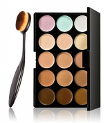 LyDia® 15 Nude Colours Cream Concealer/Highlight/Face Contour Camouflage Palette Dull/Redness Skin/Black Circle kit set #1 + LyDia® Professional Oral Toothbrush Shaped Black Face/Eye/Body Cosmetic Foundation/Concealer/Blush/Blusher/Contour/Bronzer/Powd ..