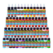 Solong Tattoo® 54 Colours Complete Tattoo Ink Set Pigment Kit 1oz (30ml) Professional Tattoo Supply for Tattoo Kit TI301-30-54