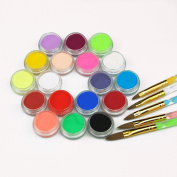 Fashion gallery Nail Acrylic Powder Liquid 18 Colours Diy Colourful Dust Set For 3d Art Mould Crystal Brush Coloured carving powder Freeshipping