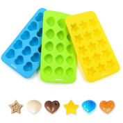 Silicone Muffin Tray Pack 3, Ankway Non-Stick Heart Star Shell Silicone Moulds, Reusable 15-cup Bakeware Pans for Sweets Chocolate Sugar Jelly Soap-FDA Approved/BPA Free/Microwave & Dishwasher Safe
