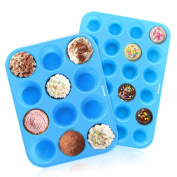 Ankway Silicone Muffin Tray (Pack of 2)- 12 & 24 Cups Resuable Silicone Bakeware Set Heat Resistant up to 450°F, Non Stick Silicone Moulds for Cupcakes and Baking-Dishwasher and Microwave Safe-Blue