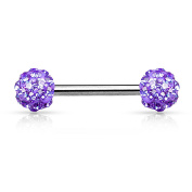 Crystal Paved Ferido Balls 316L Surgical Steel Nipple Bar