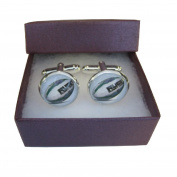 Handmade Sports Inspired - Rugby Ball - Mens Silver Plated Cufflinks - Gift Boxed