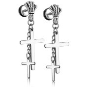 JewelryWe 2pcs Unisex Mens Stainless Steel Double Cross Pendants Dangling Vintage Gothic Skull Claw Stud Earrings, Silver