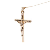 NUOLUX Jesus Christ Cross Necklace Gold Plated Crucifix Pendant for Men and Women