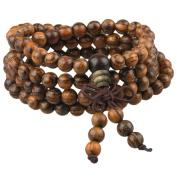 Shanxing 108 Prayer Beads Mala Bracelet,Natural Wood Tibetan Buddhist Buddha Meditation Necklace