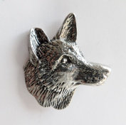Fox Head Small Pewter Pin Badge - Hand Made in Cornwall