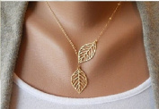 Buy any 2 & get 1 FREE! Unique Fashion Jewellery Gold Double Leaf Pendant Necklace Diamond Jewellery 2 Leaves Vintage Hot Fashion Trend Ladies Jewellery