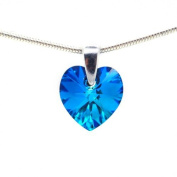 Sterling Silver 925 Small Eternal Love Luxe Blue Heart Pendant Necklace for Women Made with. Crystals