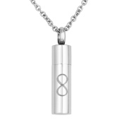 Uniqueen Mens 316L Stainless Steel Cylinder Ashes Pendant Cremation Jewellery Urn Necklaces for Memorial