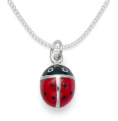 """Children's Sterling Silver ladybird pendant necklace Red enamel on 14"""" Silver chain - Size"""