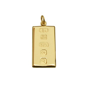 Solid 9ct Yellow Gold Small Ingot Pendant With Custom Hallmark 20mm x 10mm In Gift Box