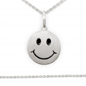 "CLEVER Jewellery SET Pendant ""Smiley eyes and mouth satin black finish and Anchor Chain 42 CM 925 Silver"
