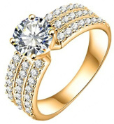 AMDXD Jewellery Gold Plated Women's Engagement Rings Big Round CZ with 3 Rows Crystal 7MM Width