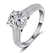 Silver / Gold Plated 9mm Solitaire Cubic Zirconia Gem Paved Ring Gift Present