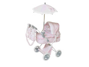 "DeCuevas Classic Romantic Doll Pram ""Quilted Pink"" with Umbrella and Bag"