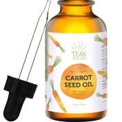 CARROT SEED OIL by Teak Naturals - 100% Organic Natural Cold Pressed & Unrefined for Skin, Hair and Scalp Healing