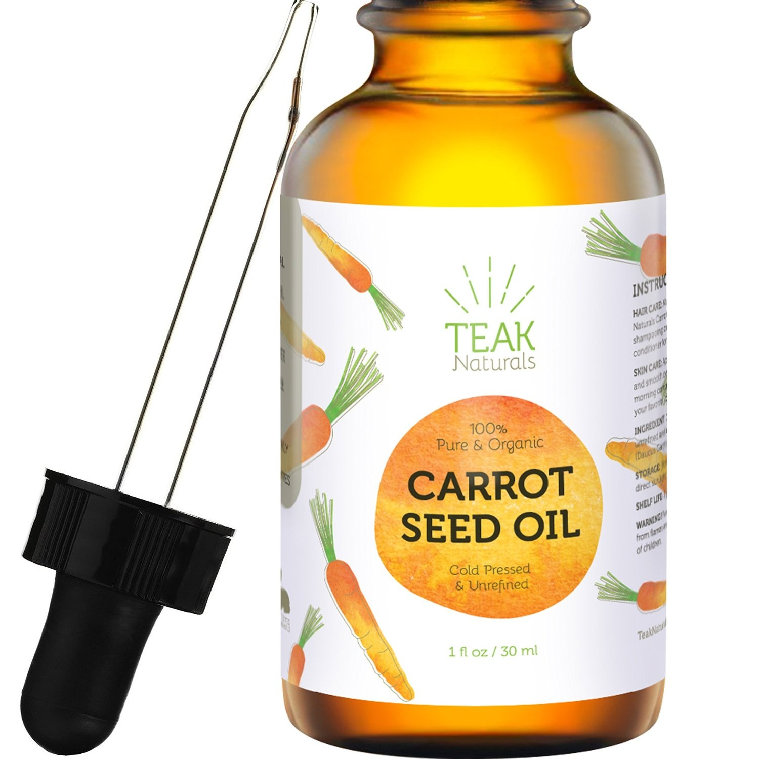 a0f9f14f8807 CARROT SEED OIL by Teak Naturals - 100% Organic Natural Cold Pressed &  Unrefined for Skin, Hair and Scalp Healing