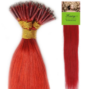 Fenicy Hair Extensions Keratin Nano Ring Bead Tip Remy Human Hair Red 60cm