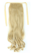 "Real Soft 18""(46CM) One Piece ash blonde Wavy Curly Wrap around Binding Tie up Ponytail Clip curly in Hair Extensions For Woman Elegant Gift"