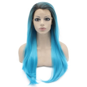 Long Straight Ombre Blue Synthetic Lace Front Wig Heat Resistant Fibre Hair Wig Natural at Mxangel