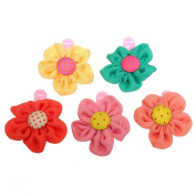 RareLove Baby Girls Cute Five Colours Daisy Flower Hair Clips For Toddler 5 PCS