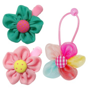 RareLove Baby Girls Daisy Flower Green Pink Hair Clips with Flower Hair Ties For Toddler 3 PCS